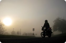 Yamaha YBR 125 in the fog at Heiligenberg (Germany) in 2009